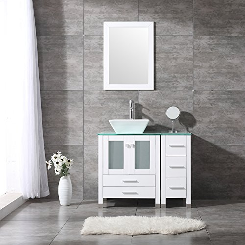 "BATHJOY 36"" White Bathroom Wood Vanity Cabinet Single Square Ceramic Vessel Sink Top Faucet Drain with Mirror by BATHJOY"