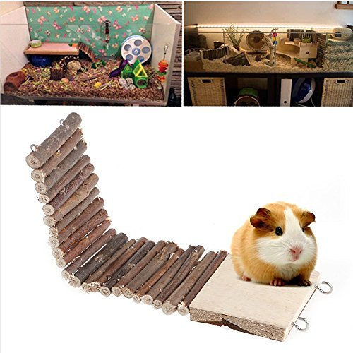 Kathson Funny Pet Mouse Hamster Rat Bird Ladder Bridge Suspended Log Wooden Deck Toy New