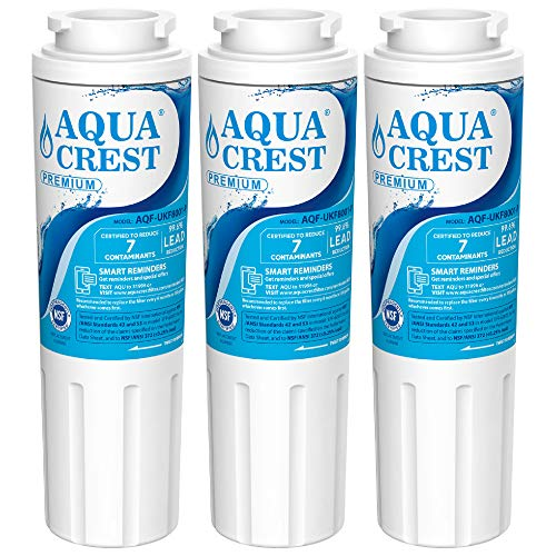 AQUACREST UKF8001 NSF 53 Certified to Reduce 99% Lead, Cyst and More, Compatible with Maytag UKF8001, UKF8001AXX, Whirlpool 4396395, EveryDrop Filter 4 Refrigerator Water Filter(Pack of ()