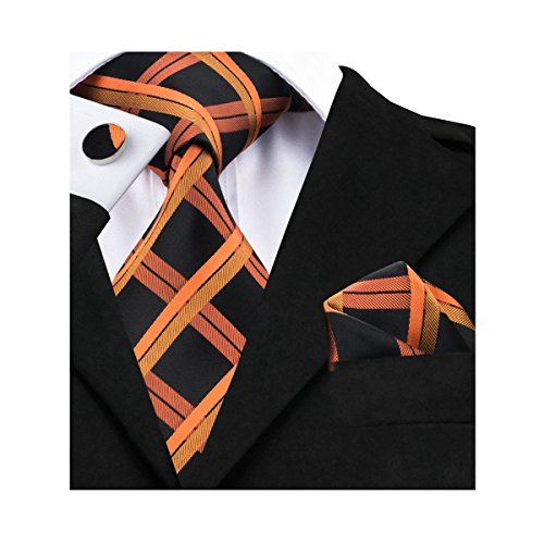 Barry.Wang Mens Neckties Classic Plaid Tie Set for Men (Pattern Mens Necktie)