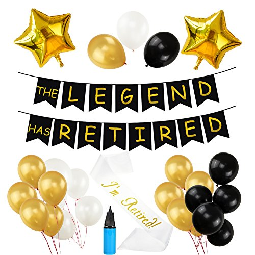 THE LEGEND HAS RETIRED Party Decorative Banner, 30 Pcs Latex Balloons Retired Sash Ideal for Retirement Party Decorations with Air Pump (Retirement Party Decorations)