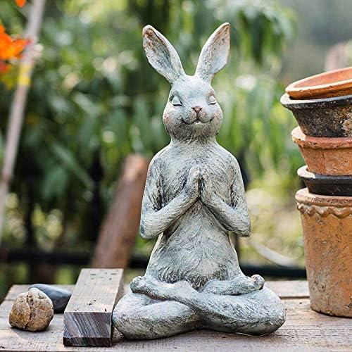 庭の装飾品レトロなヨガのウサギ防水樹脂庭の庭の風景芝生の装飾工芸品のギフト-18 * 16 * 32cm A