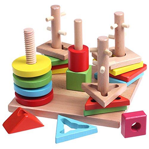 Geometric Stacker Toy (Wooden Shape Sorter Board Building Blocks toy Multi-color Geometric Sorting Stacker for preschool children to learn shape & color)