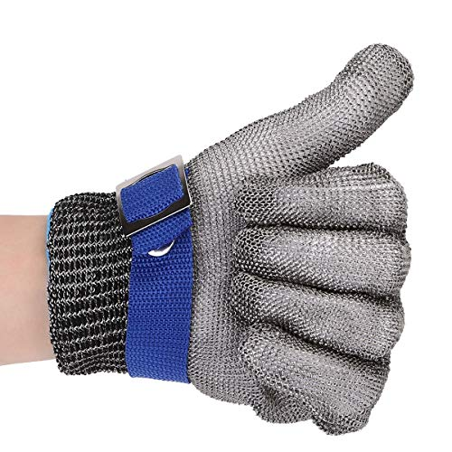 Chainmail Wire - OCGIG Ambidextrous Safety Cut Proof Stab Resistant Stainless Steel Wire Butcher Glove High Performance Level 5 Protection,Size XXL