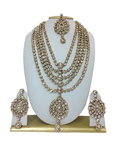 Indian Bollywood Gold Plated Stone Kundan Designer Nacklace Set Mang Tikka For Women/Girls Specail Diwali by VVS Jewellers