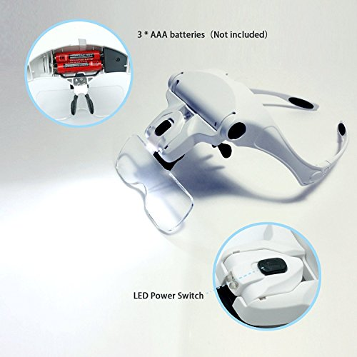 Headband LED Illuminated Head Magnifier Visor Magnifying Glass Lens LED Light Lamp Visor Head Loupe for Reading, Jewelry Loupe, Watch & Electronic Repair - Examining Lamp