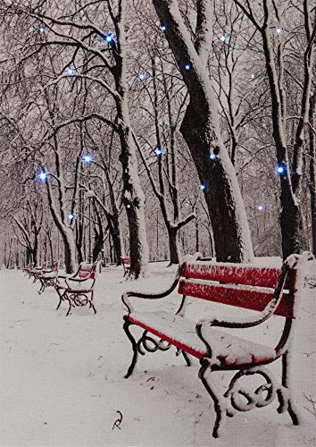 Oak Street Snowy Path with Bench LED Art 8