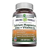 Amazing Formulas Calcium Magnesium Zinc + Vitamin D3, 240 Softgels – Scientifically Formulated to Provide Health Benefits – Promotes Strong Bone & Teeth – Supports Nerve & Muscle Function. For Sale
