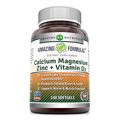 Amazing Formulas Calcium Magnesium Zinc + Vitamin D3, 240 Softgels - Scientifically Formulated to Provide Health Benefits - Promotes Strong Bone & Teeth - Supports Nerve & Muscle Function.