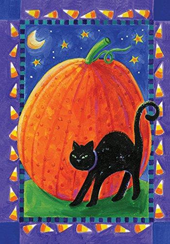 Toland Home Garden Pumpkin & Cat 12.5 x 18 Inch Decorative Kitty Pumpkin Halloween Garden Flag -