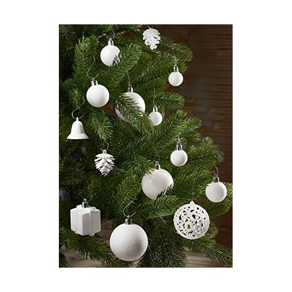Brubaker Set di 101 Accessori Decorativi per L'Albero di Natale - addobbi Natalizie in Color Bianco - Diverse Forme di Palline ed Un Puntale per Albero di Natale 3 spesavip