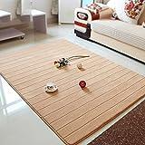 Rug WAN SAN QIAN- Economy Nordic Living Room Carpet Country Style Home Carpet Bedside Bedside Blanket Blended Stripe Carpet (Color : Khaki, Size : 60x170cm)