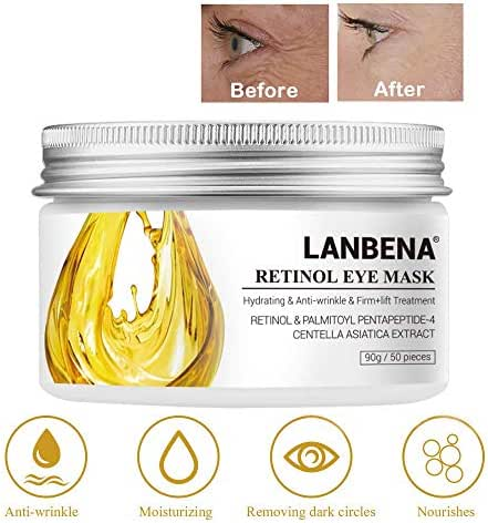 Eye Mask Sheet Hyaluronic Acid Eye Serum Patches Vitamin C Pad for Reduces Dark Circles Bags and Eye Lines Repair Skin Nourish Firming Anti-Wrinkle + Anti-aging (90 g/50 pieces) (Gold)