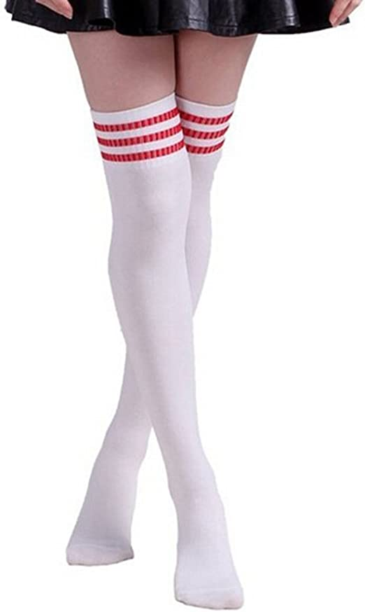 Above Knee Stockings Stripe Contrast Casual Sport Stretch Socks New