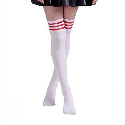 4d8d6e9a68c HugeStore Women Ladies Stripe Cotton Casual Long Socks Over Knee Socks  Thigh Knee High Stockings White Red  Amazon.co.uk  Kitchen   Home