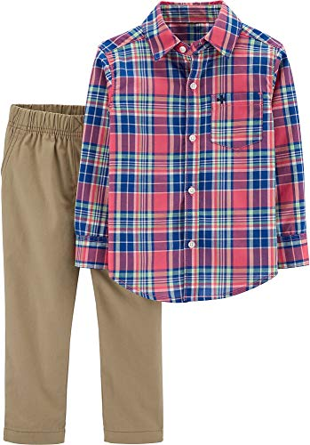 Carter's Baby Boys Pastel Plaid Button Up Pants Set 18 Months Pink Multi