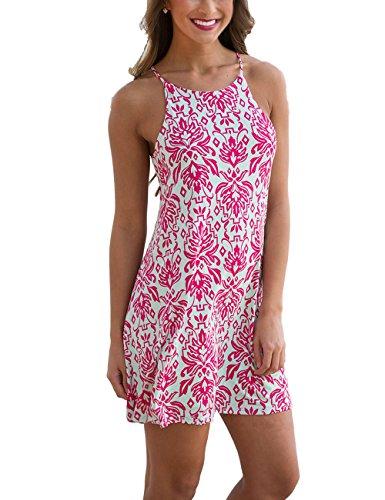 Floral Spaghetti (YIHUAN Women's Spaghetti Strap Sleeveless Floral Print Cover Up Beach Dress)