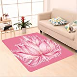 Nalahome Custom carpet l Lotus Flower Meditation Yoga Plant Asian Zen Petal Spiritual Icon Chakra Print Baby Pink Cream area rugs for Living Dining Room Bedroom Hallway Office Carpet (2' X 4')