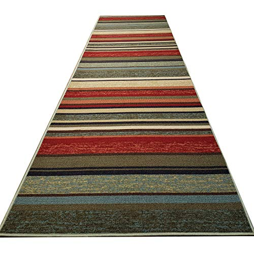 Custom Cut 22-inch Wide by 12-feet Long Runner, Multicolor Stripes Non Slip, Non-Skid, Rubber Backed Stair, Hallway, Kitchen, Carpet Runner Rug - Choose Your Width by Length]()
