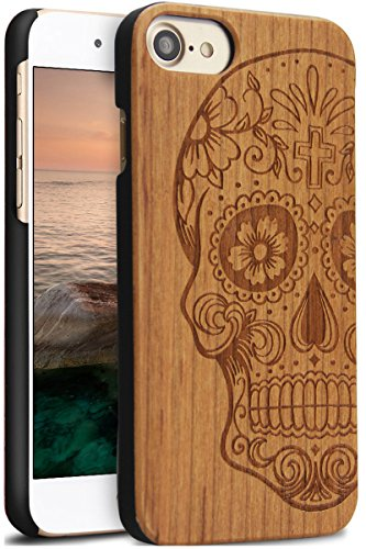 iPhone 7 Wood Case,Wood iPhone Case,Real Unique Handmade Wood Carve Sugar Skull Cover Case Fashion Slim Protective Real Wooden Engraved Shell for iPho…