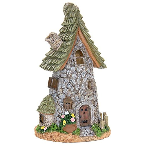 Miniature Fairy Garden Solar Stone Cottage with Leaf Roof