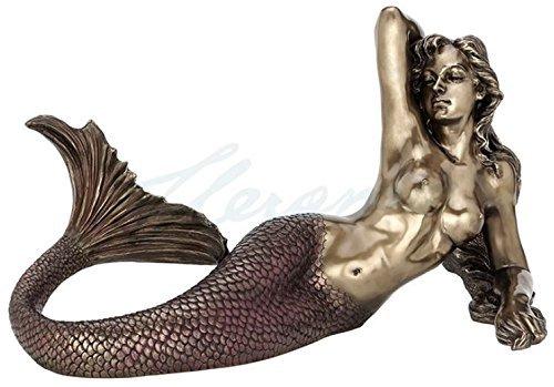 Large Nude Mermaid Lying Back Sculpture Nautical Decor