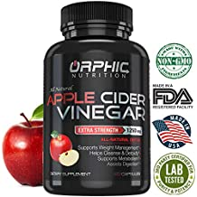 Organic Extra Strength 1250mg Apple Cider Vinegar Capsules | Detox Pills | Prevent Bloating, Non-Stimulating | Detox, Cleanse, Manage Weight & Improve Digestion | Men & Women | Pack of 60