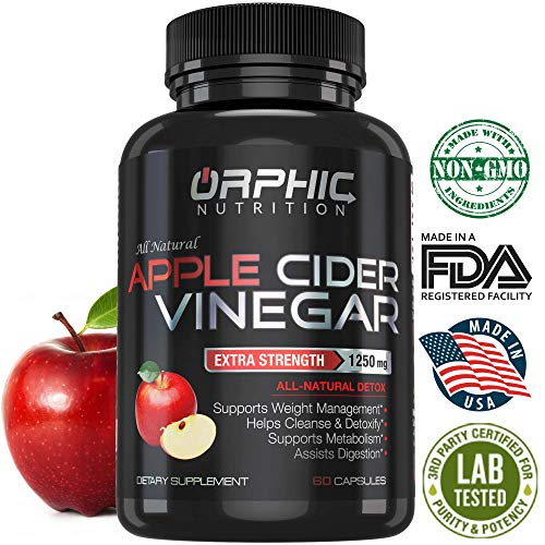 100% Natural & Organic 1250mg Apple Cider Vinegar Capsules | Detox Pills | Extra Strong, Non-Stimulating | Detox, Cleanse, Manage Weight & Improve Digestion | Men & Women | Pack of 60