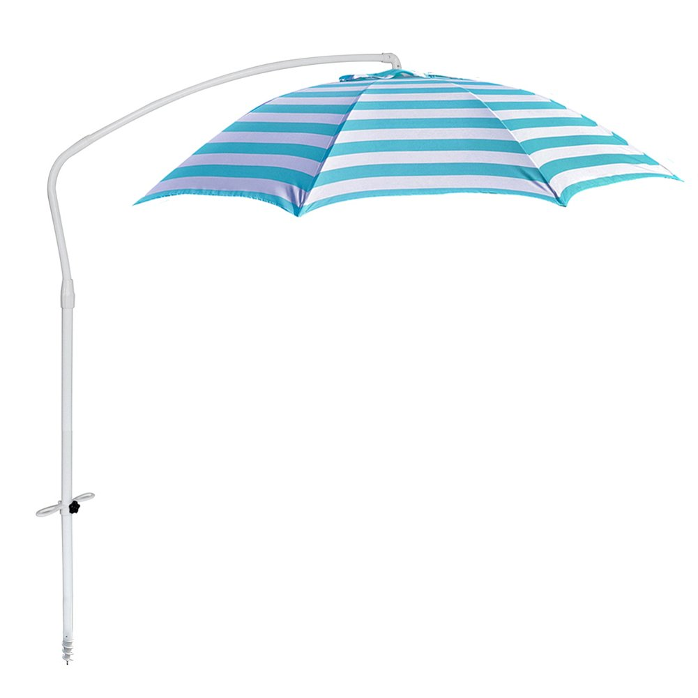 Le Papillon 7 ft Outdoor Patio Offset Beach Umbrella Sun Shelter with Sand Anchor, Light Blue and White Stripe