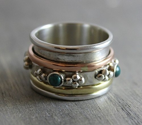 sterling-silver-925-turquoise-brass-copper-bohemian-spinning-fidget-ring-size-8
