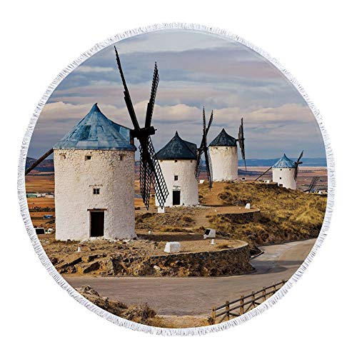 iPrint Thick Round Beach Towel Blanket,Windmill Decor,Medieval Spain Windmills in Consuegra Old Historical Landmark Decorative,Blue White Light Brown,Multi-Purpose Beach Throw by iPrint