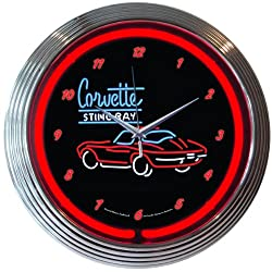 Neonetics Corvette C2 Stingray Neon Wall Clock, 15-Inch