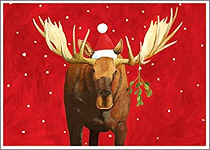 moose box of 15 allport christmas cards