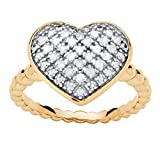 Pave White Diamond 18k Gold over .925 Silver Puffed Heart Ring (.25 cttw, HI Color, I3 Clarity) Size 9