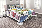 Lunarable Whale Bedspread Set Queen Size, Ocean Animals Collection Cheerful Swimming Clown Fish and Puffer Fish Shrimp Artwork, Decorative Quilted 3 Piece Coverlet Set with 2 Pillow Shams, Multicolor