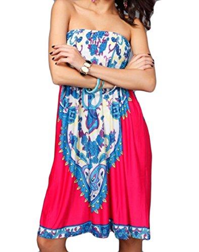 Stile Elastico Monospalla Spalline Rosa Tagliato Fuori Abito In Popolare Vita Rossa Motivo donne Senza Con Coolred 0pP5w5