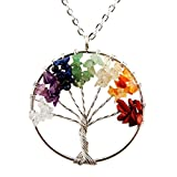 Tree of Life Pendant for Necklace Amulet Crystal Quartz DIY 7 Chakra Gemstones Charms for Peace Family Best Friends Mothers Day Gifts