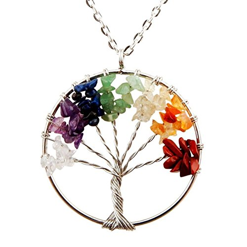 Tree of Life Pendant for Necklace Amulet Crystal Quartz DIY 7 Chakra Meditation Gemstones Charms for Peace Family Best Friends Mothers Day Gifts (Diy Best Friend Necklaces)