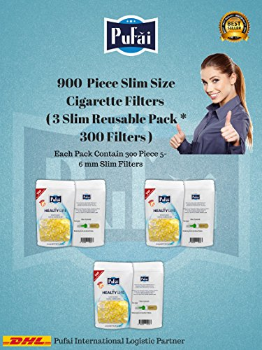 Slim cigarette filters. 900 piece ( 3 reusable pack * 300 filters) disposable slim,slender and super slim size [5 and 6 mm] cigarette filters holder. New 6 hole strong filtration sytem by Pufai.