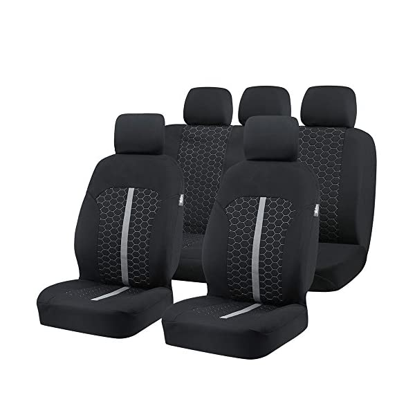 Car Seat Covers, Unique Flat Cloth Fabric Seat Covers Breathable Full Set Front Back Cover With 5 Detachable Headrests   Fit Most Car, Truck, Suv, Or Van