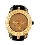 Rose Gold Tone Hip Hop Bullet Band Heavy Duty High End Ice Out Watch, Watch Central