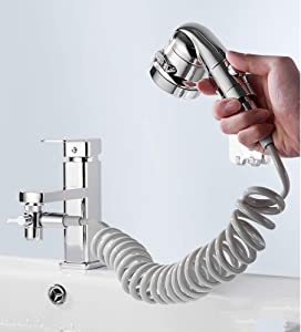 FLYYQMIAO Sink Faucet Hose Sprayer for Hair Washing Bathroom Sink Sprayer Rinser Attachement for Pet Dog Shower, Bathtub Faucet Shower Head Replacement for Baby Bath with 3 Settings & On Off Switch