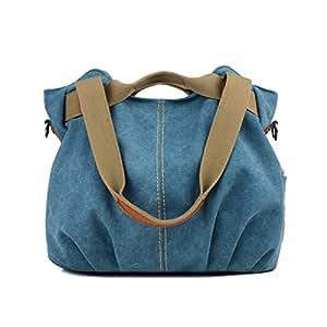 LOSMILE mujer lona Bolso de mano Bolsa de hombro Bolsa de cuerpo cruzada Bolso de mano Bolsa de ocio (Azul)