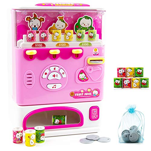 Adorable Vending Machine Toy for Kids in Bright Pink Color Super Durable - Very Cute Design Electronic Drink Machine - Holiday Present Gift Toys for Children of 3 and up