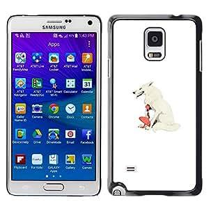 Caucho caso de Shell duro de la cubierta de accesorios de protección BY RAYDREAMMM - Samsung Galaxy Note 4 - White Wolf & Girl