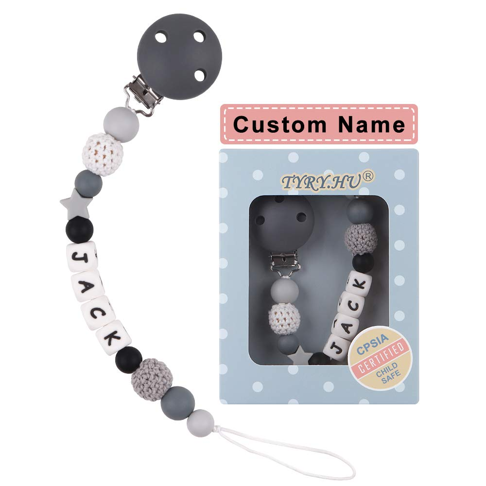 Personalized Pacifier Clips, TYRY.HU BPA Free Silicone Teething Beads Binky Teether Holder for Baby Boys Name Shower Gift (Grey)
