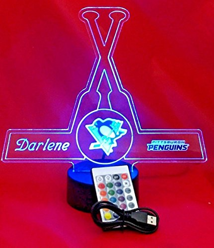Pittsburgh Beautiful Handmade Acrylic Personalized Penguins Hockey Light Up Lamp LED, Our Newest Feature - It's Wow, Comes with Remote,16 Color Options, Dimmer, Free Engraved, Great ()
