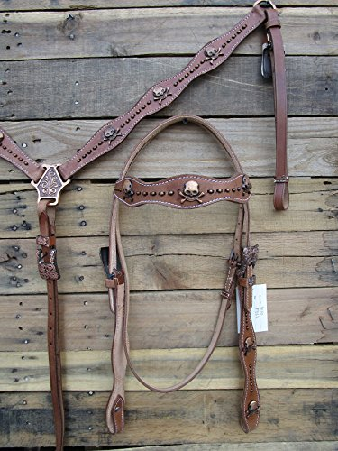 Western Headstall BREASTCOLLAR Set Copper Skull Stone Studded Tooled Leather Parade Horse Bridle