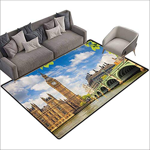 (Kitchen room Floor Mat Rug Colorful London Decor Collection,Historical Architecture Big Ben and Westminster Bridge Seen behind Fresh Spring Leaves Picture,Blue Green Ivory 48