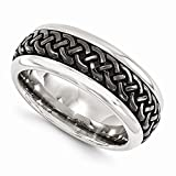 Edward Mirell Black Titanium with Stainless Steel 9mm Wedding Band - Size 11